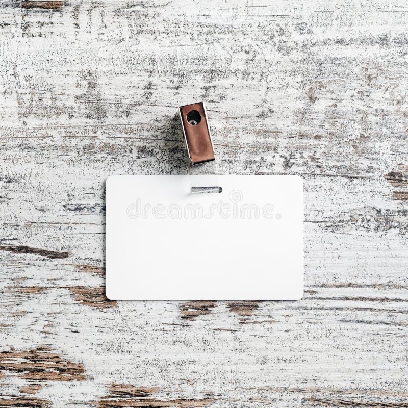 Distintivo di plastica bianco fotografia stock