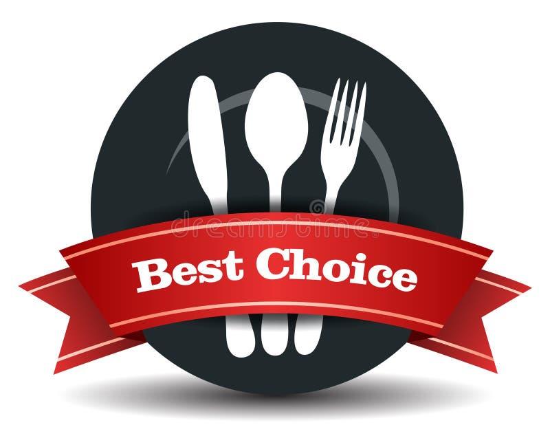 Distintivo di qualità dei prodotti alimentari del ristorante illustrazione di stock