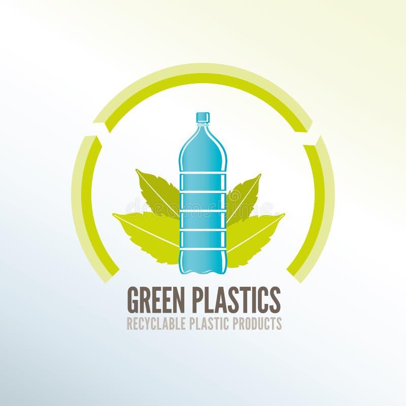 Distintivo di riciclaggio verde per i prodotti di plastica ecologici illustrazione di stock