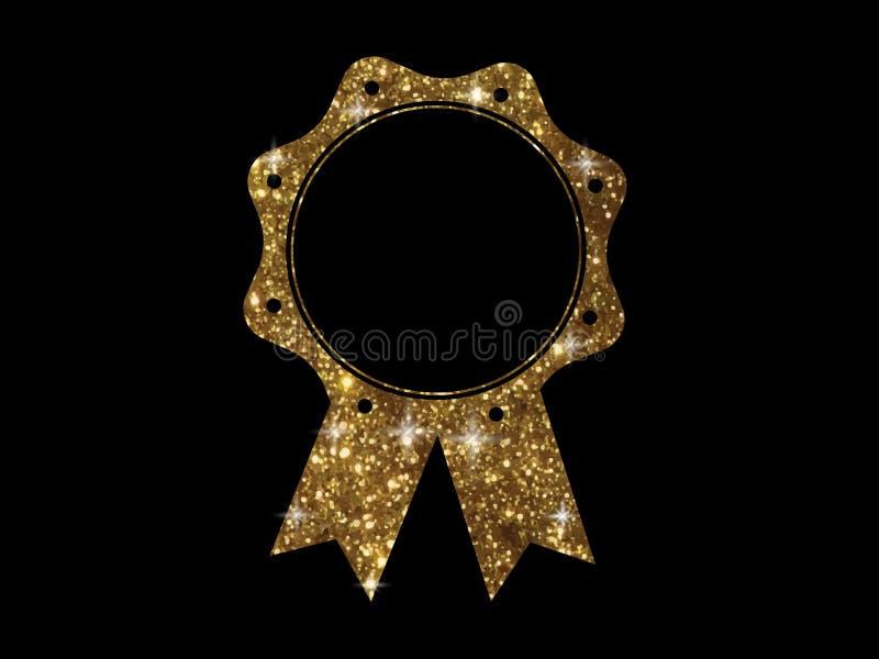 Distintivo dorato del nastro della medaglia del premio di colore dell'oro di scintillio di vettore illustrazione di stock