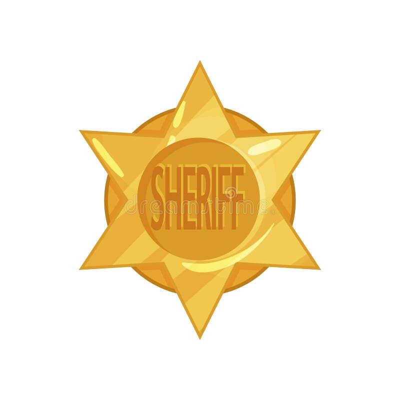 Distintivo dorato della stella del cerchio della polizia ad ovest anziana nello stile piano del fumetto Emblema dello sceriffo di royalty illustrazione gratis