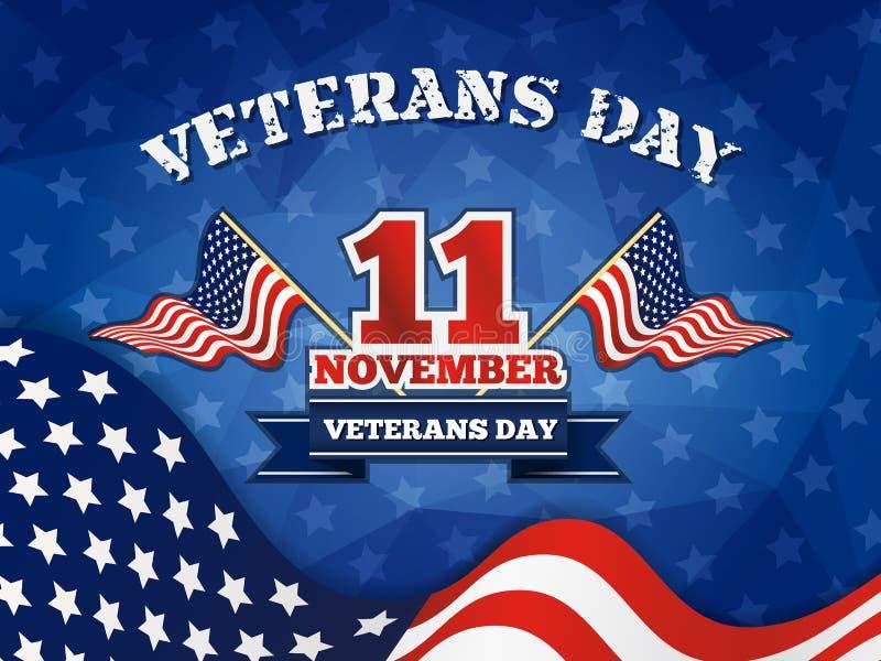 Distintivo e fondo di giornata dei veterani illustrazione vettoriale