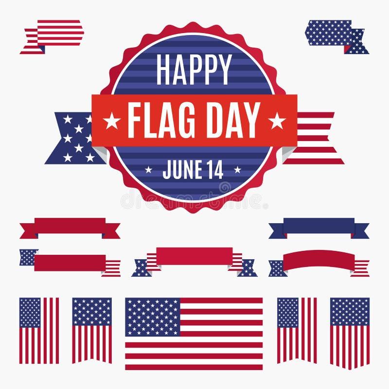 Distintivo, insegne e nastri di giorno della bandiera di U.S.A. illustrazione di stock