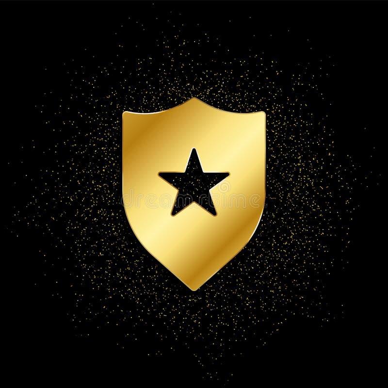 distintivo, insignia icona oro Illustrazione vettoriale dello sfondo delle particelle d'oro simbolo del vettore isolato - Icona I illustrazione di stock