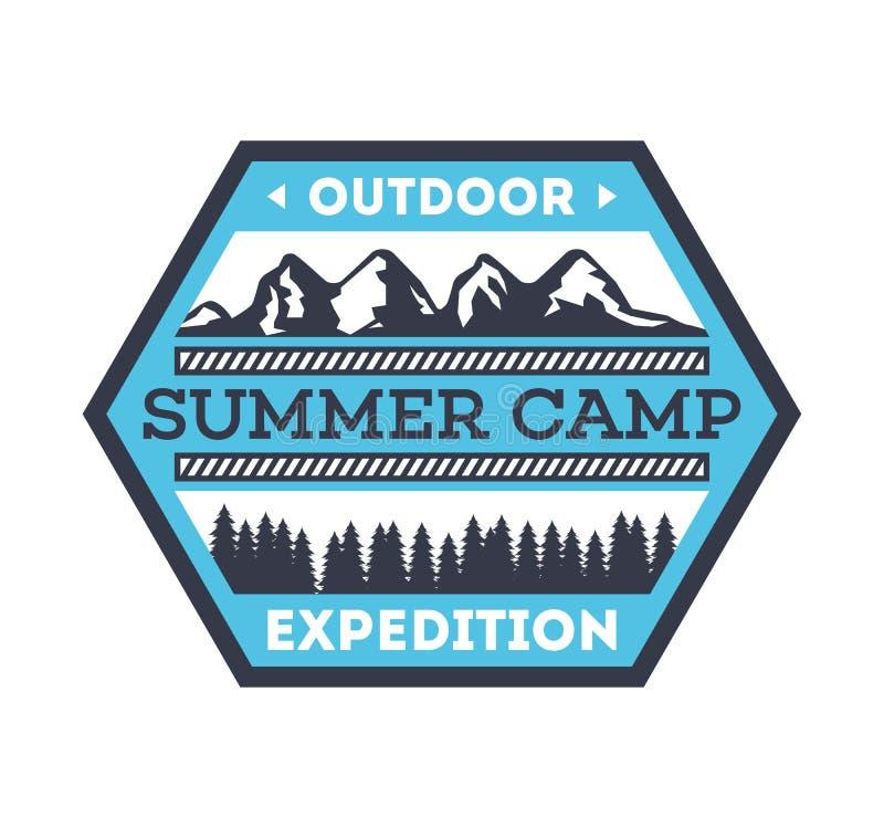 Distintivo isolato annata di campeggio turistico illustrazione di stock