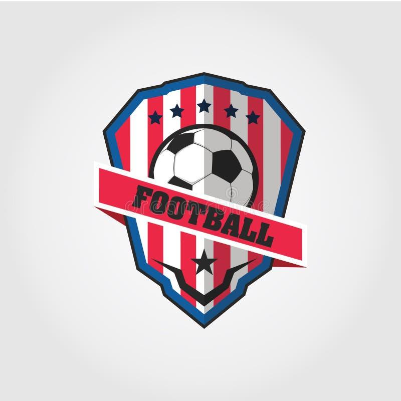 Distintivo Logo Design Templates di calcio di calcio   Sport Team Identity Vector Illustrations isolato su fondo blu illustrazione vettoriale