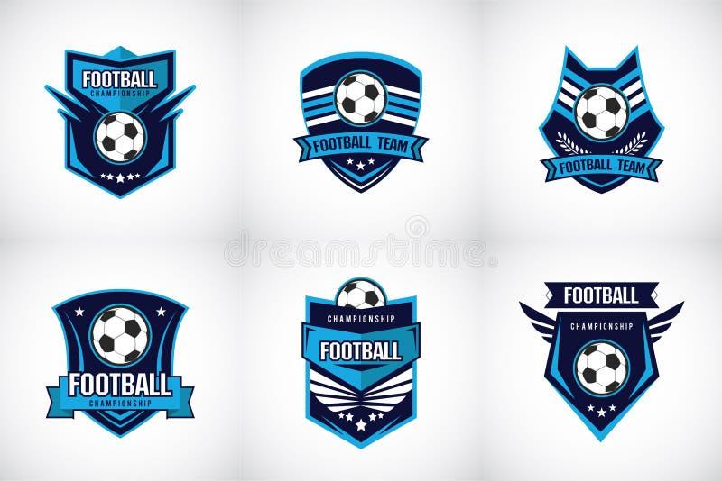 Distintivo Logo Design Templates di calcio di calcio   Sport Team Identity Vector Illustrations isolato su fondo blu royalty illustrazione gratis
