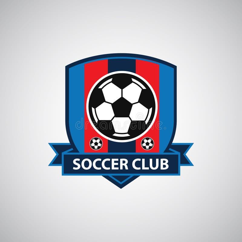 Distintivo Logo Design Templates di calcio di calcio   Sport Team Identity Vector Illustrations isolato su fondo blu illustrazione di stock