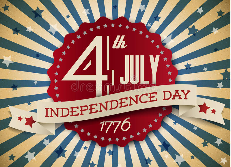 Distintivo/manifesto di festa dell'indipendenza di vettore illustrazione di stock