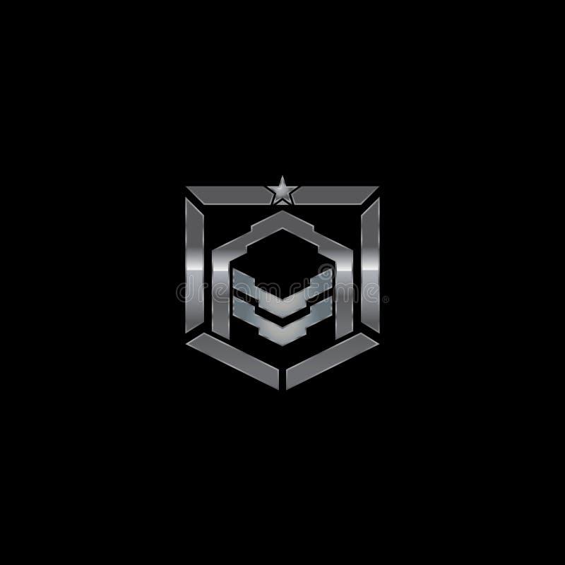 Distintivo militare metallico dello schermo della lettera A illustrazione vettoriale