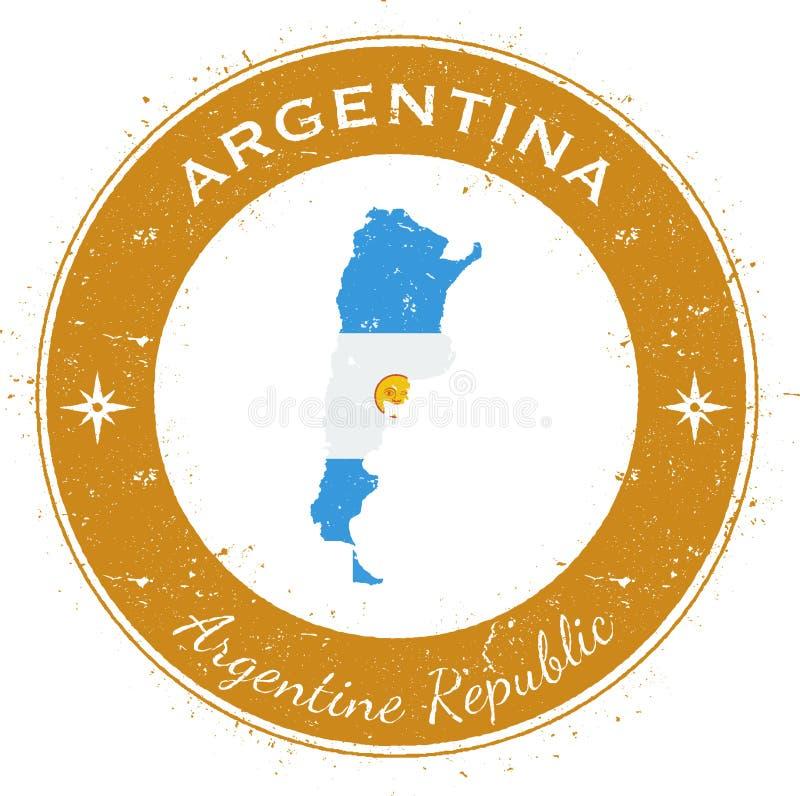 Distintivo patriottico circolare dell'Argentina illustrazione vettoriale