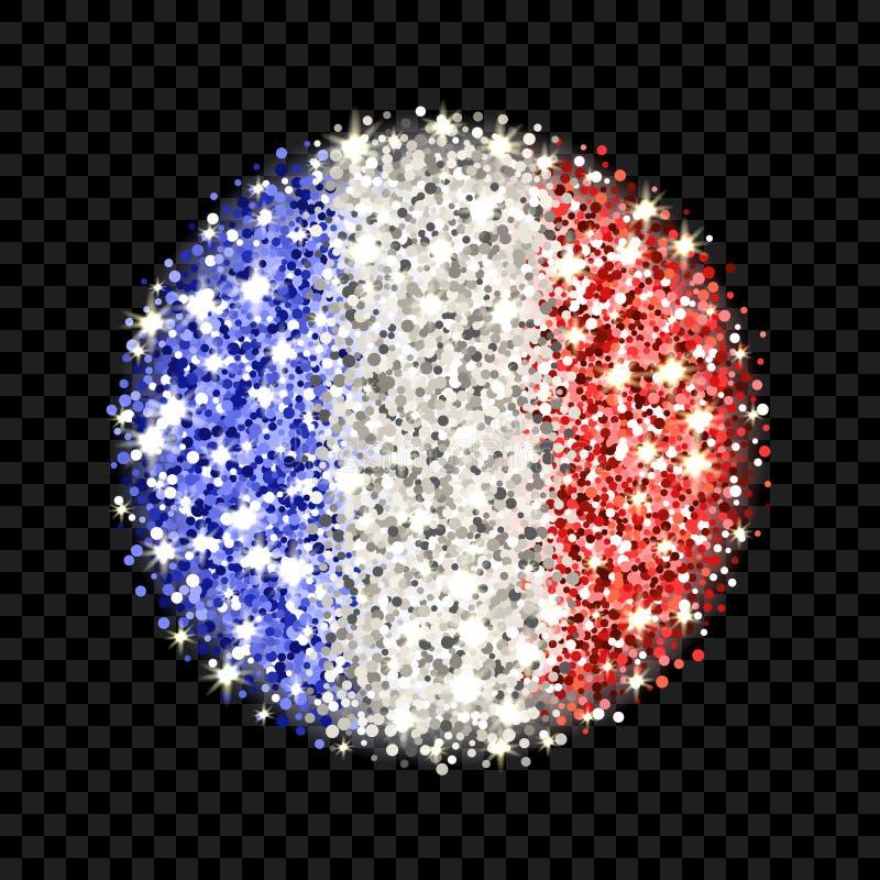 Distintivo scintillante della bandiera della Francia illustrazione vettoriale