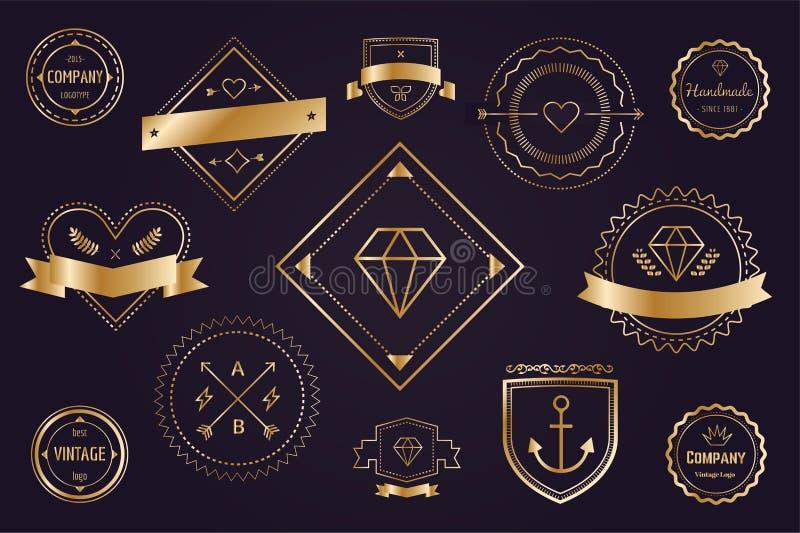 Distintivo stabilito delle icone di vettore del pacco di logo massiccio royalty illustrazione gratis