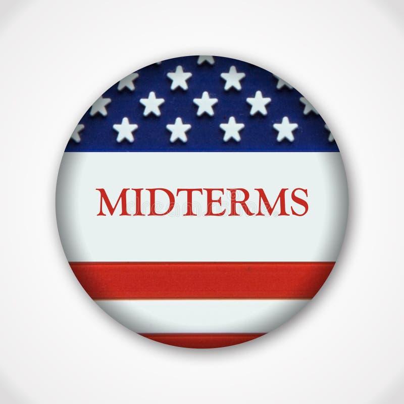 Distintivo trimestrale del bottone del perno di elezione con la bandiera americana illustrazione di stock