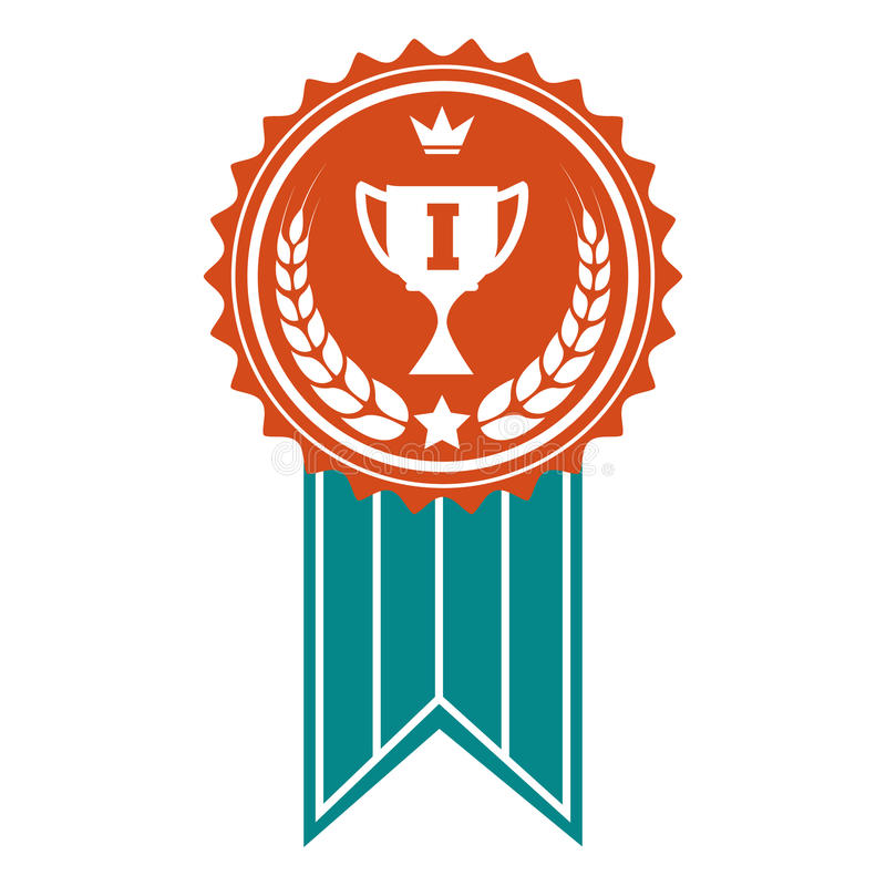 Distintivo variopinto del premio del vincitore illustrazione di stock