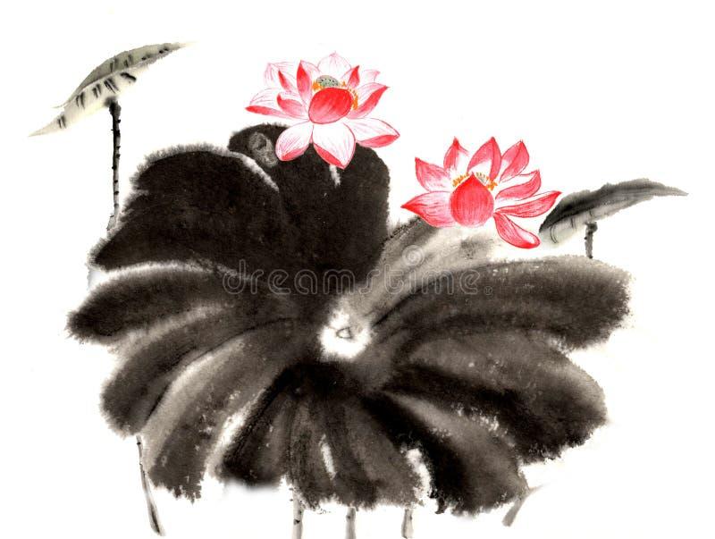 Distinto lírio pintado à mão decorativo lindo tradicional chinês da tinta-água ilustração royalty free