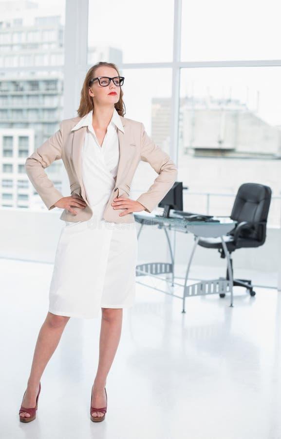 Distogliere lo sguardo grazioso concentrato della donna di affari immagini stock libere da diritti