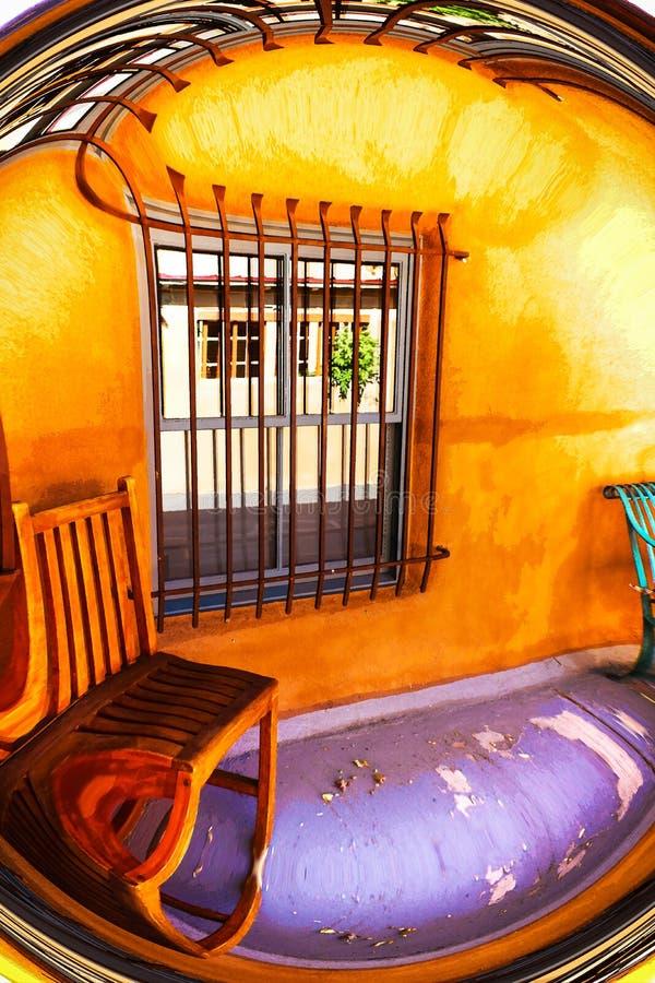 Distorsione sudoccidentale surreale del portico con il pavimento porpora illustrazione vettoriale