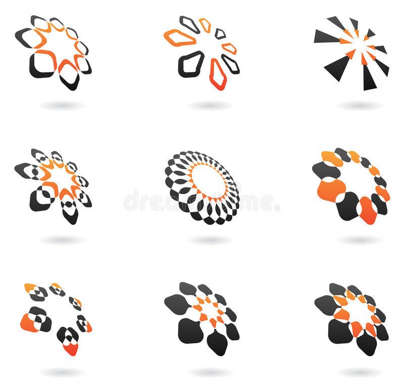 Distorted Abstract Icons Stock Photo