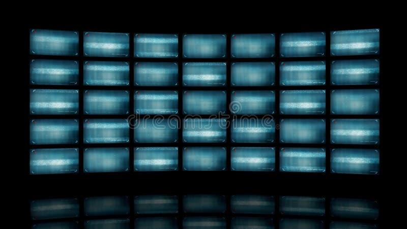 Distorted curvó la pared video representación 3d ilustración del vector