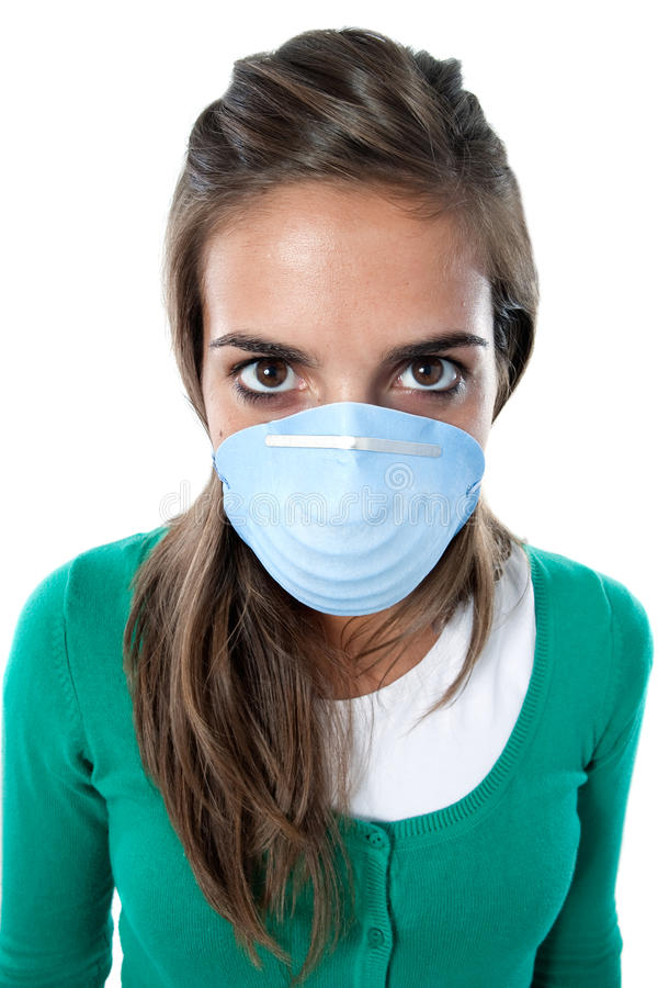 Distorted girl infected with influenza A. And mask isolated over white royalty free stock photos