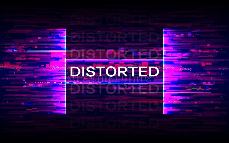 Distorted glitch banner. Dynamic distortion with purple elements. Futuristic poster. Future design template. Color wave stock illustration