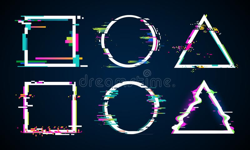 Distorted glitch frame. Glitched circle, square and triangle frames. Music distortion logo vector elements set stock illustration
