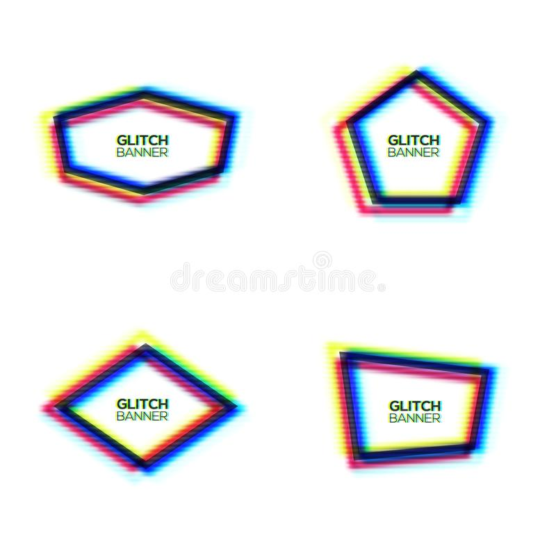 Glitch frame set. Pentagon hexagon rhombus polygon. Distorted glitch texture frame set. Abstract modern banners pentagon hexagon rhombus polygon background with royalty free illustration