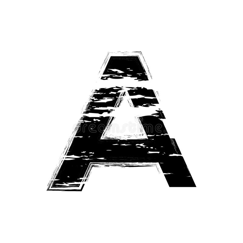 Distorted letter A vector. Grunge A letter of the alphabet. Trendy style distorted glitch typeface alphabet. Letters drawn vector illustration