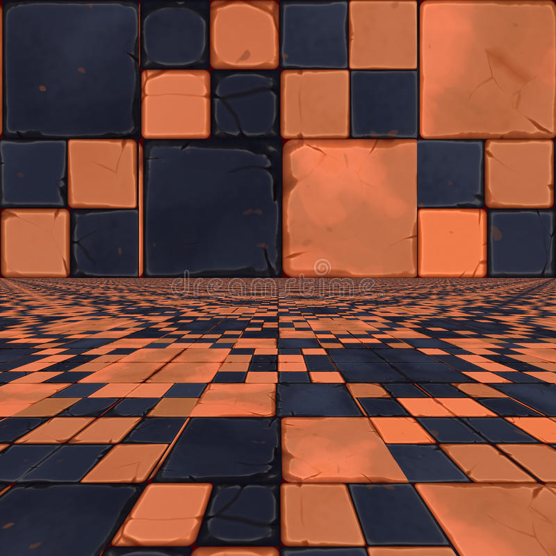 Download Distorted orange checkers stock illustration. Illustration of geometry - 34409991