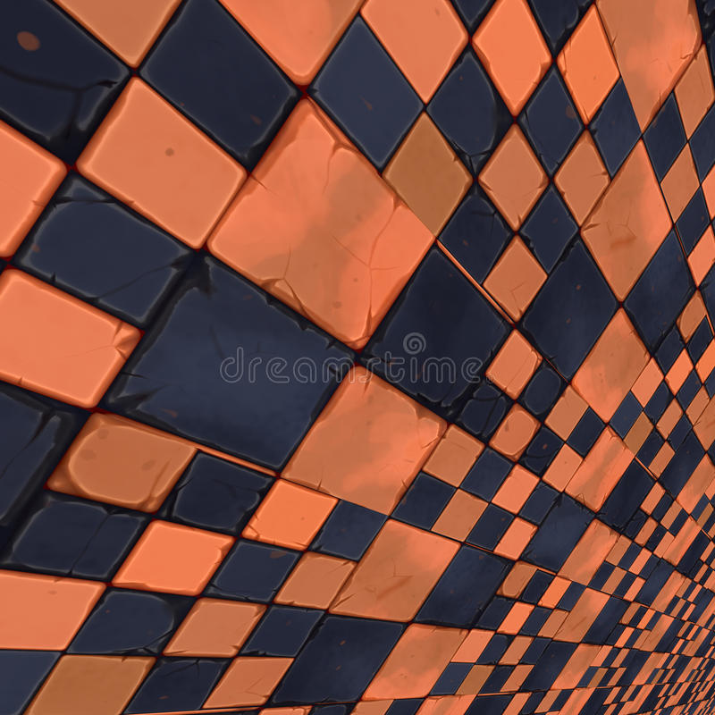 Distorted Orange Checkers Stock Photography