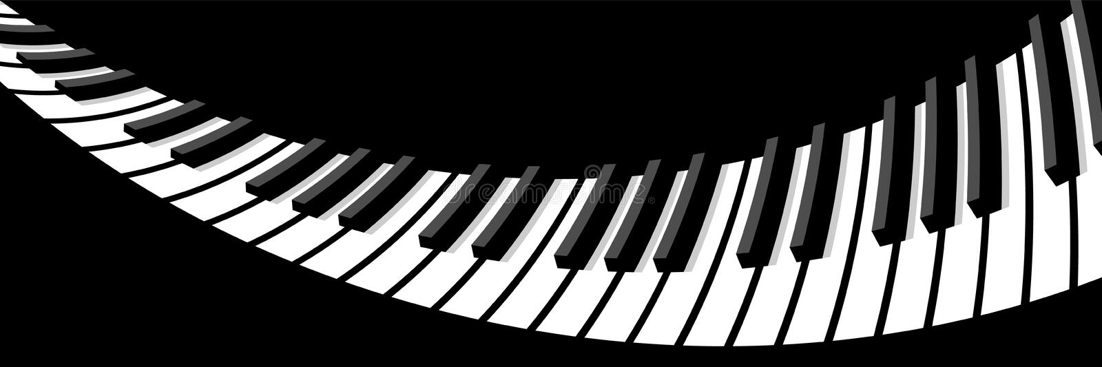 Distorted piano keyboard. Black and white piano keyboard. For background, wide screensavers for your fantastic flight stock illustration