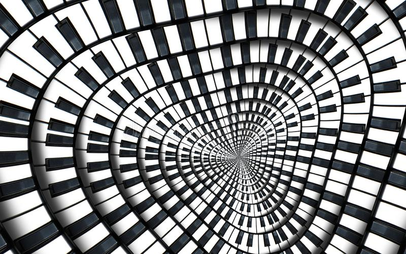 Distorted Piano keyboard music swirl abstract fractal spiral pattern background. Black and white piano round spiral. Spiral Piano stock illustration