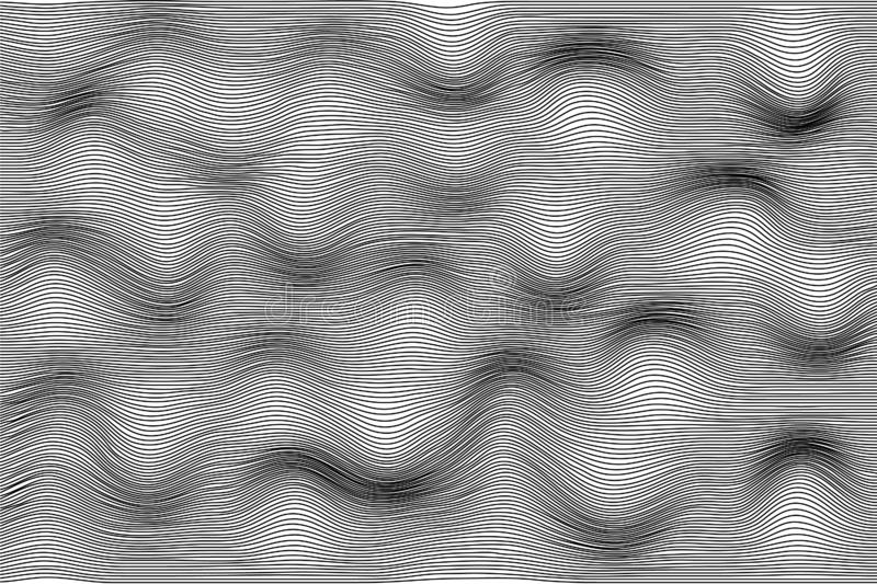 Distorted wave monochrome texture. Fluctuation of space concept. Vector stripe deformation background vector illustration