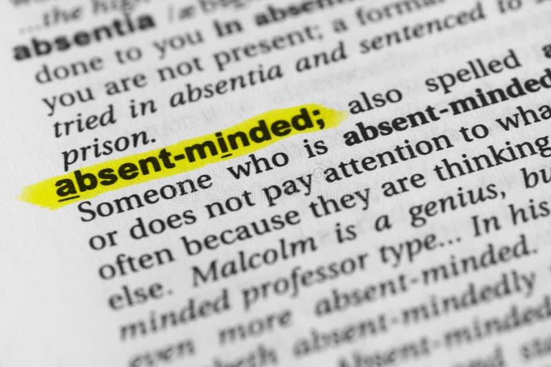 ` Distraído destacado del ` inglés de la palabra y su definición en el diccionario fotografía de archivo libre de regalías