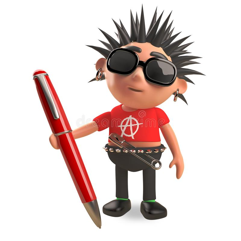 Distracted punk rocker with spikey hair with a red pen, 3d illustration. Render royalty free illustration