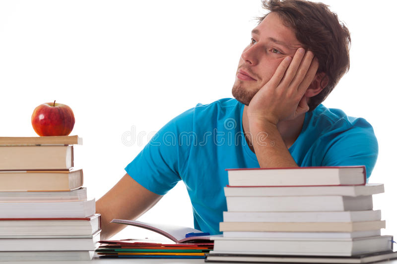 Distracted student in library. On isolated background royalty free stock image