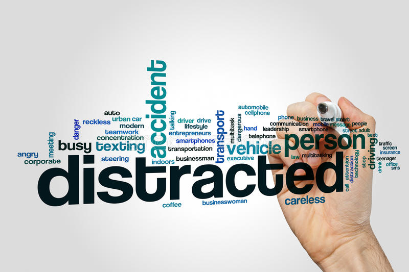 Distracted word cloud concept on grey background.  stock images
