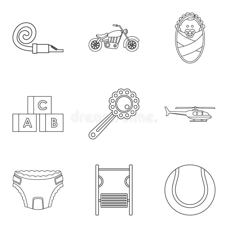 Distraiga los iconos fijados, estilo del niño del esquema libre illustration