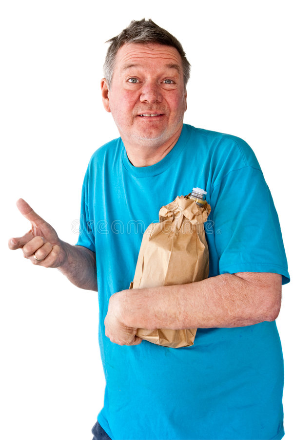 Download Distraught Mature Man With Bottle Of Booze Stock Image - Image: 8318897