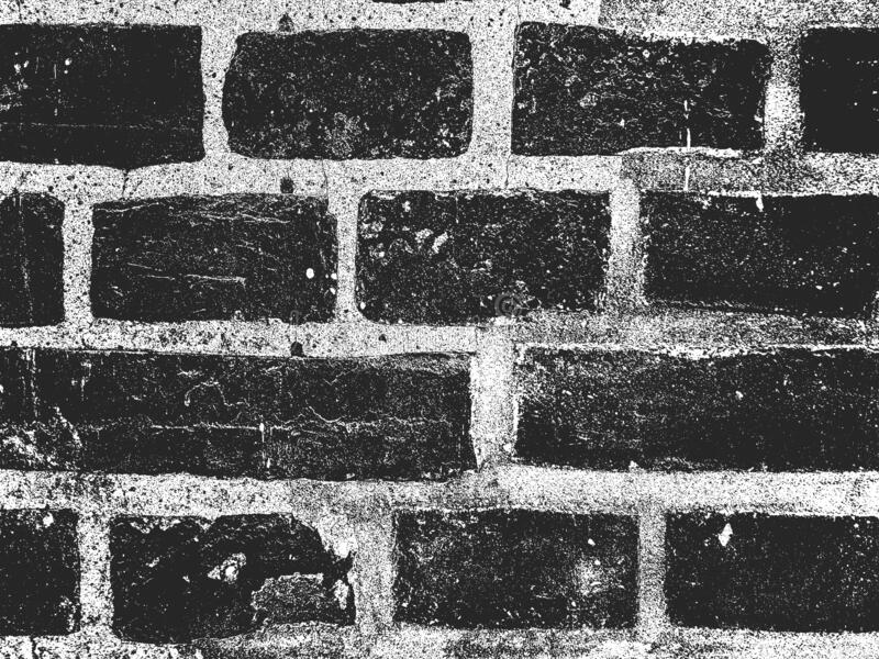 Distress old brick wall texture. Black and white grunge background. EPS8 vector illustration royalty free illustration