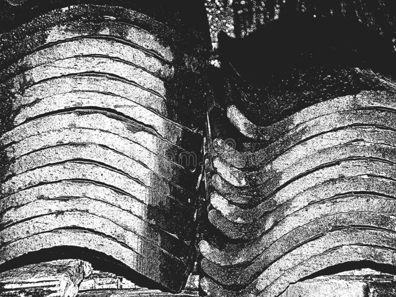 Distress old texture of roof tile. Black and white grunge background. EPS8 vector illustration vector illustration