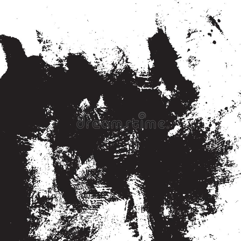 Distress Overlay Texture. Grunge rough dirty background. Overlay aged grainy messy template. Distress urban used texture. Brushed black paint cover. Renovate stock illustration
