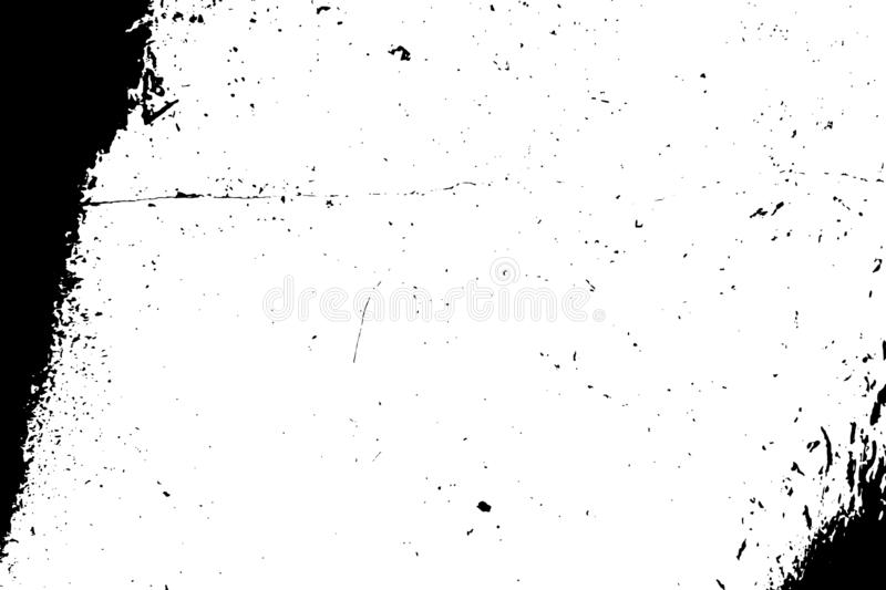 Distress Overlay Texture. Overlay aged grainy messy template. Distress urban used texture. Grunge rough dirty background. Brushed black paint cover. Renovate stock illustration