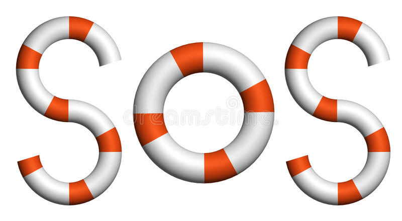 Distress Signal SOS Text By Life Buoy Royalty Free Stock Images