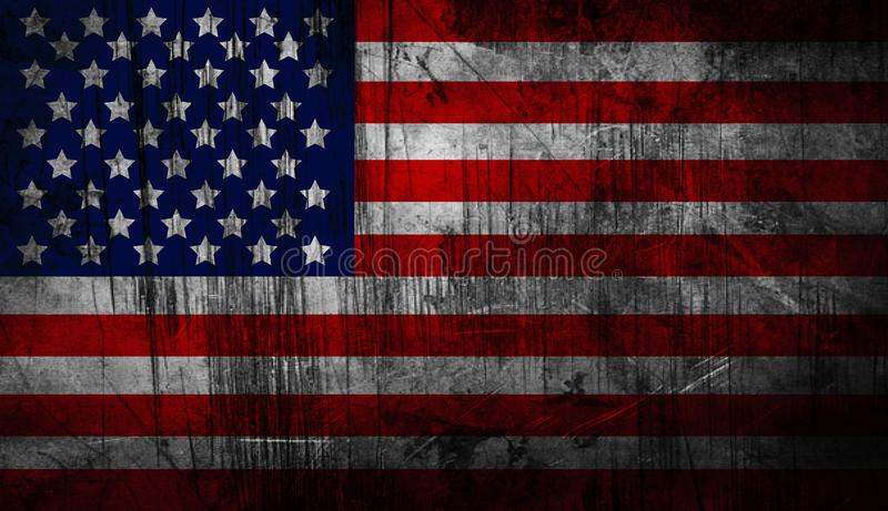 Distressed American national flag. United States Flag. Vector illustration of the American flag in accurate proportions with a grungy distressed look. Detailed royalty free illustration
