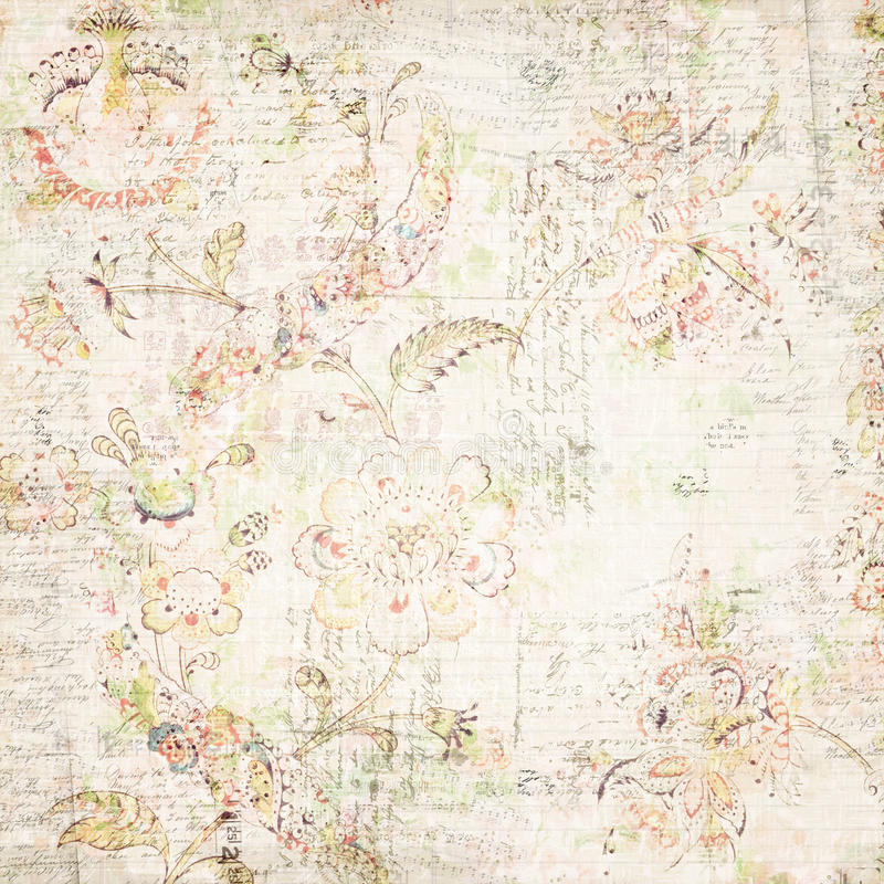 Download Distressed Antique Floral And Text Wallpaper Stock Photo - Image: 40989008