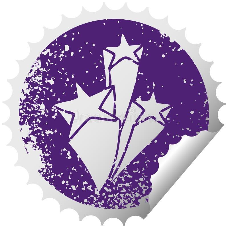 Distressed circular peeling sticker quirky symbol stars. A creative quirky distressed circular peeling sticker symbol stars vector illustration