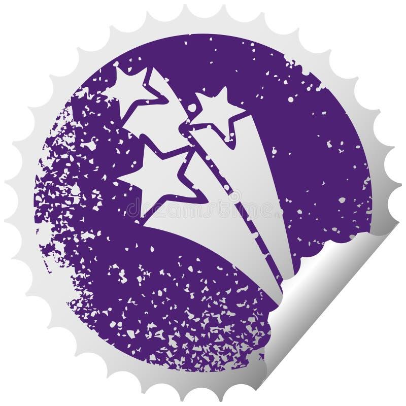 Distressed circular peeling sticker symbol shooting stars. A creative illustrated distressed circular peeling sticker symbol shooting stars stock illustration