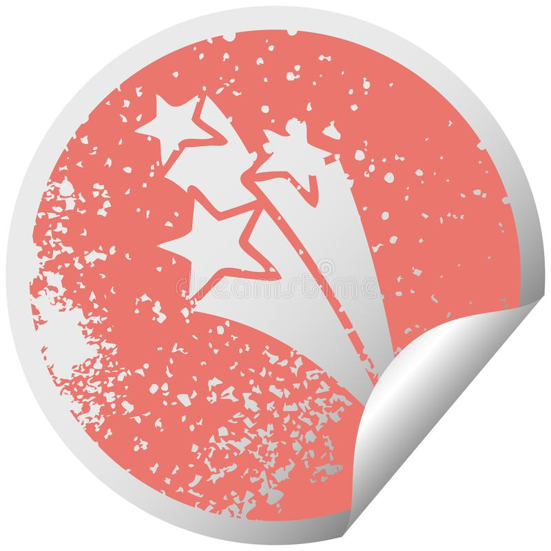 Distressed circular peeling sticker symbol of a shooting stars. Illustrated distressed circular peeling sticker symbol of a shooting stars royalty free illustration